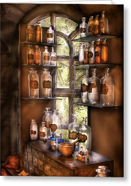 Witch Greeting Cards - Pharmacist - Various Potions Greeting Card by Mike Savad