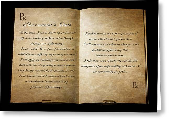 Oath Greeting Cards - Pharmacists Oath Greeting Card by Cecil Fuselier