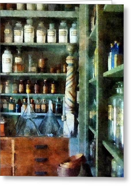 Medicine Greeting Cards - Pharmacy - Back Room of Drug Store Greeting Card by Susan Savad