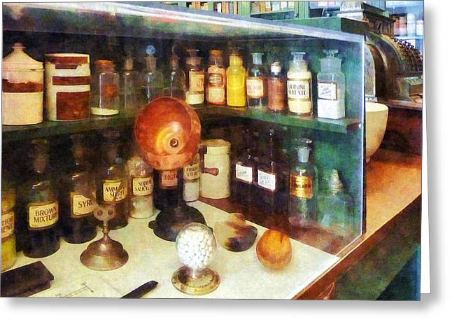 Pharmacy - Behind The Counter At The Drugstore Greeting Card by Susan Savad