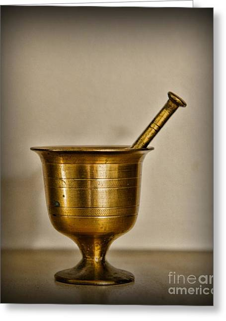 Medication Greeting Cards - Pharmacy - Brass Mortar and Pestle Greeting Card by Paul Ward