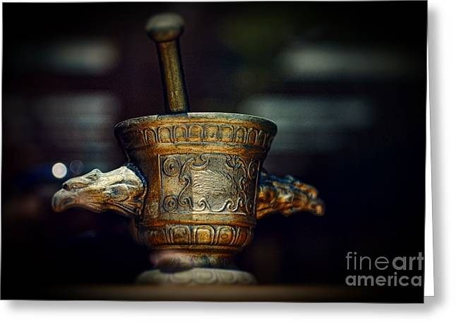 Medication Greeting Cards - Pharmacy Brass Mortar and Pestle with Eagle Handles Greeting Card by Paul Ward