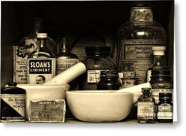 Pharmacy - Cod Liver Oil And More Greeting Card by Paul Ward