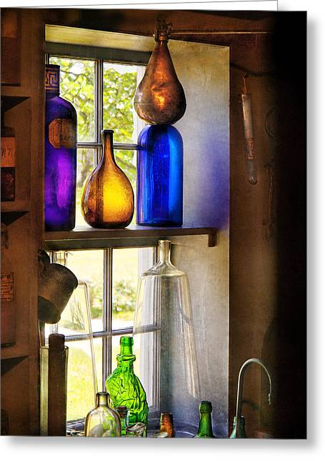 Customizable Photographs Greeting Cards - Pharmacy - Colorful glassware  Greeting Card by Mike Savad