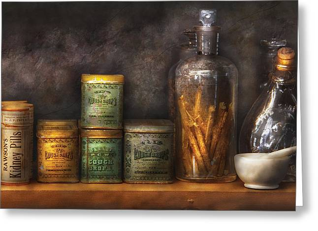 Pill Box Greeting Cards - Pharmacy - Cough Drops and Kidney Pills Greeting Card by Mike Savad