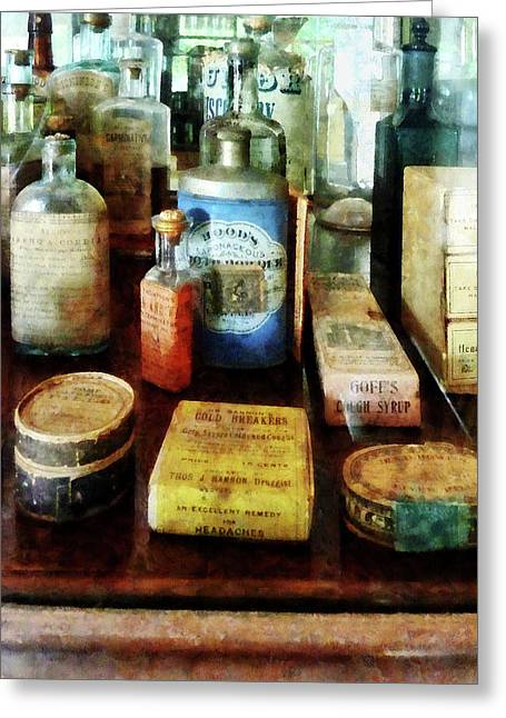 Pharmacy - Cough Remedies And Tooth Powder Greeting Card by Susan Savad