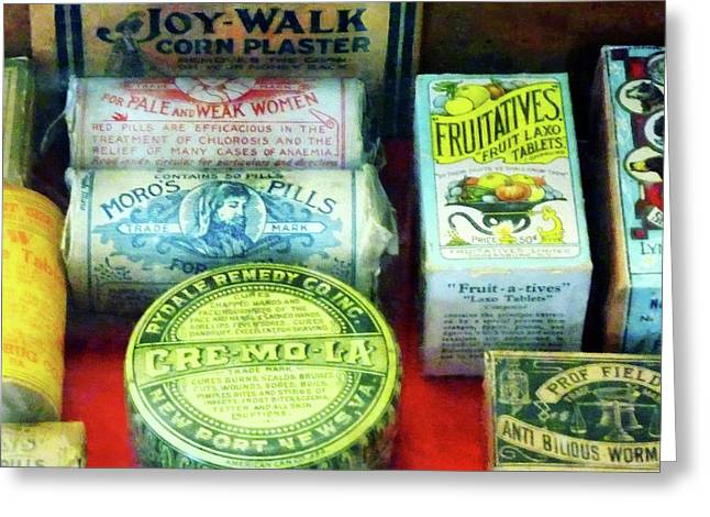 Druggists Greeting Cards - Pharmacy - For Aches and Pains Greeting Card by Susan Savad