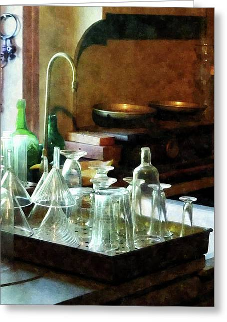 Designs By Susan Greeting Cards - Pharmacy - Glass Funnels and Bottles Greeting Card by Susan Savad
