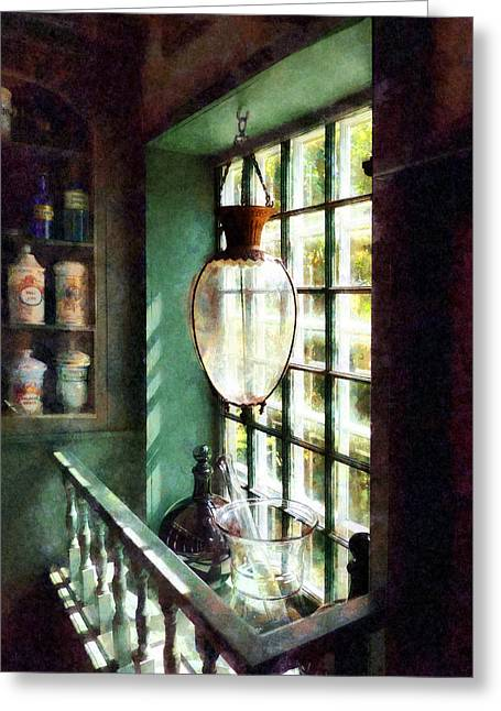 Pharmacy - Glass Mortar And Pestle On Windowsill Greeting Card by Susan Savad
