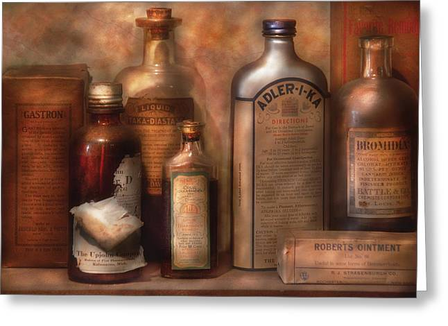 Label Greeting Cards - Pharmacy - Indigestion Remedies Greeting Card by Mike Savad