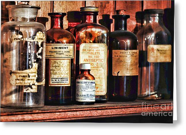 Liniment Greeting Cards - Pharmacy - Liniments and more Greeting Card by Paul Ward