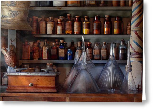 Medication Greeting Cards - Pharmacy - Master of many trades  Greeting Card by Mike Savad