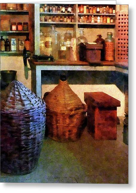 Pharmacy - Medicine Bottles And Baskets Greeting Card by Susan Savad