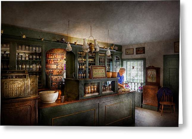 Pharmacy - Morning Preparations Greeting Card by Mike Savad