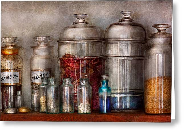 Glass Pebble Greeting Cards - Pharmacy - Mysterious pebbles powders and liquids Greeting Card by Mike Savad