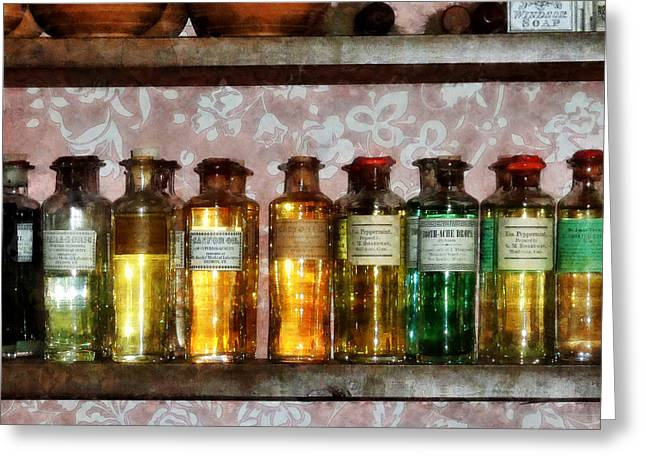 Medicine Greeting Cards - Pharmacy - Old Fashioned Remedies Greeting Card by Susan Savad