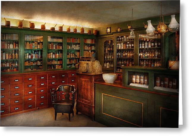 Healer Greeting Cards - Pharmacy - Patent Medicine  Greeting Card by Mike Savad