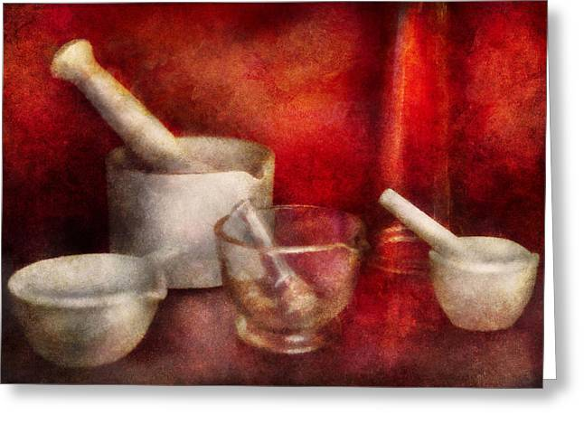 Mortal Greeting Cards - Pharmacy - Pestle - Endless variety  Greeting Card by Mike Savad