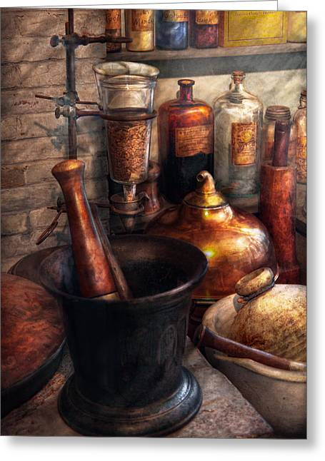 Macabre Greeting Cards - Pharmacy - Pestle - Pharmacology Greeting Card by Mike Savad