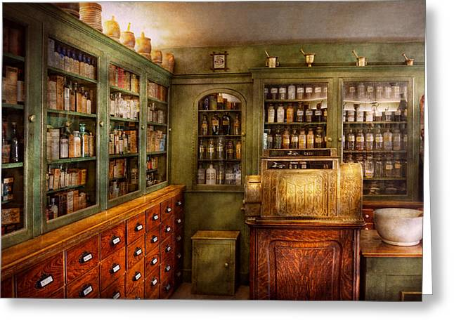 Cabinet Room Greeting Cards - Pharmacy - Room - The dispensary Greeting Card by Mike Savad