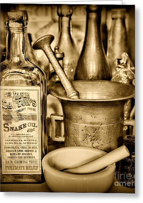 Medication Greeting Cards - Pharmacy - Snake Oil -  Black and White Greeting Card by Paul Ward