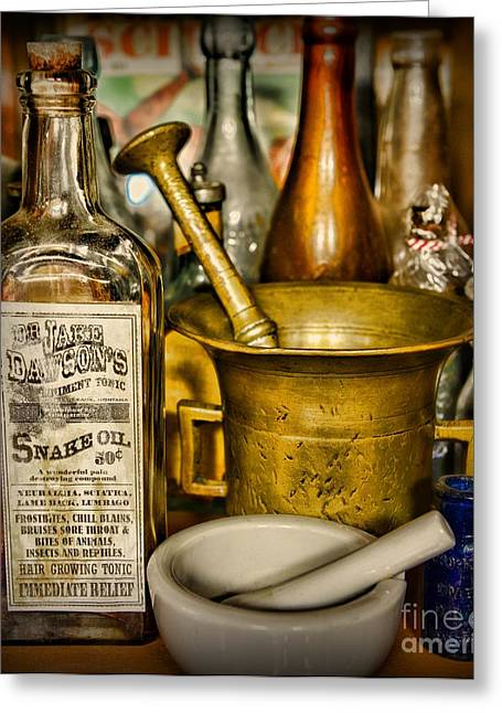 Md Greeting Cards - Pharmacy - Snake Oil -Dr. Jake Dawson Greeting Card by Paul Ward