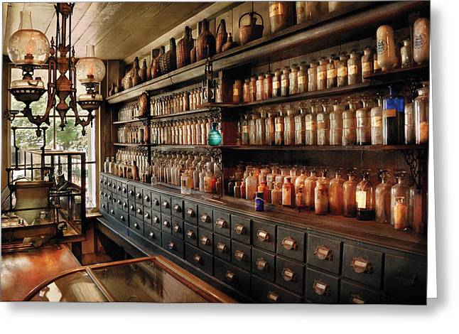 Meds Greeting Cards - Pharmacy - So many drawers and bottles Greeting Card by Mike Savad