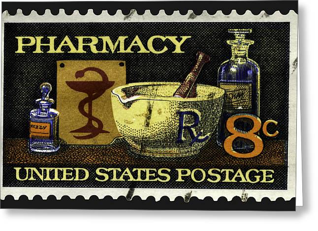 Medication Greeting Cards - Pharmacy Stamp with Bowl of Hygeia Greeting Card by Phil Cardamone