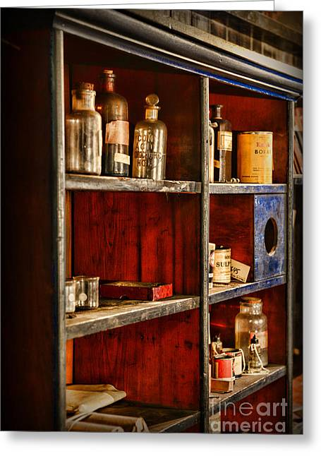 Old Grinders Photographs Greeting Cards - Pharmacy - The Back Room Greeting Card by Paul Ward