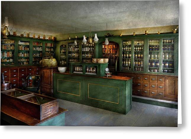 Old-fashioned Greeting Cards - Pharmacy - The Chemist Shop  Greeting Card by Mike Savad