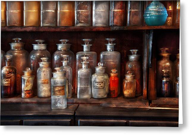 Pharmacy - The Chemistry Set Greeting Card by Mike Savad