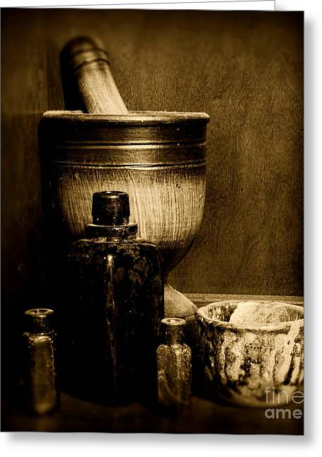 Md Greeting Cards - Pharmacy - wood mortar and pestle - black and white Greeting Card by Paul Ward