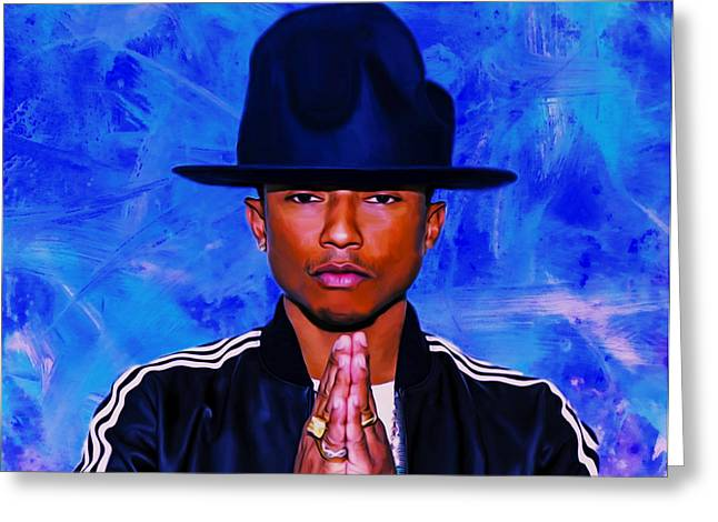 Daft Punk Greeting Cards - Pharrell Williams Peace on Earth Greeting Card by Brian Reaves