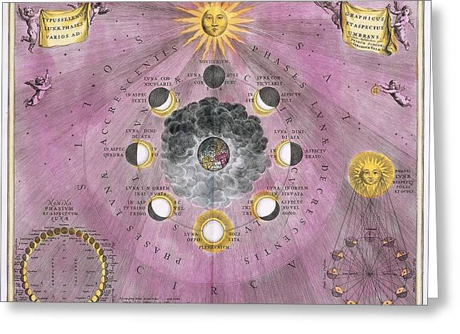 Macrocosmica Greeting Cards - Phases of the Moon, 1708 Greeting Card by Science Photo Library