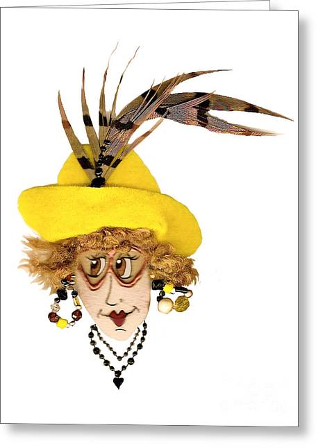 Pheasant Feather Whimsical Lady In Yellow Greeting Card by Nan Wright