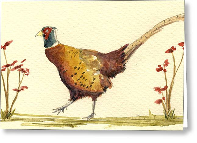 Pheasant Paintings Greeting Cards - Pheasant in the flowers Greeting Card by Juan  Bosco