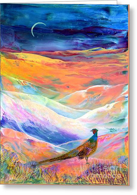 Snowy Night Greeting Cards - Pheasant Moon Greeting Card by Jane Small