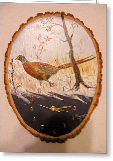 Clock Sculptures Greeting Cards - Pheasent Clock Greeting Card by Al  Johannessen