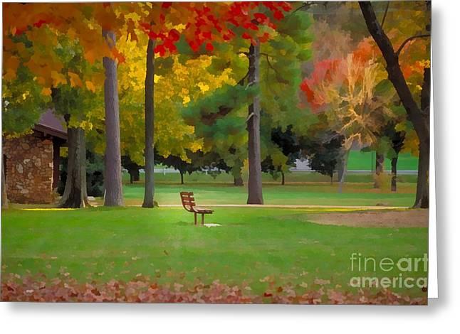 Ozarks Digital Art Greeting Cards - Phelps Grove Park Greeting Card by JS Stewart