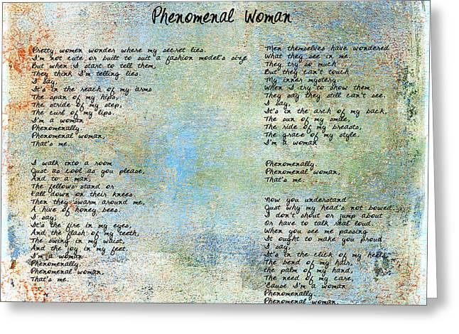 Phenomenal Woman - Blue Rustic Greeting Card by Paulette B Wright