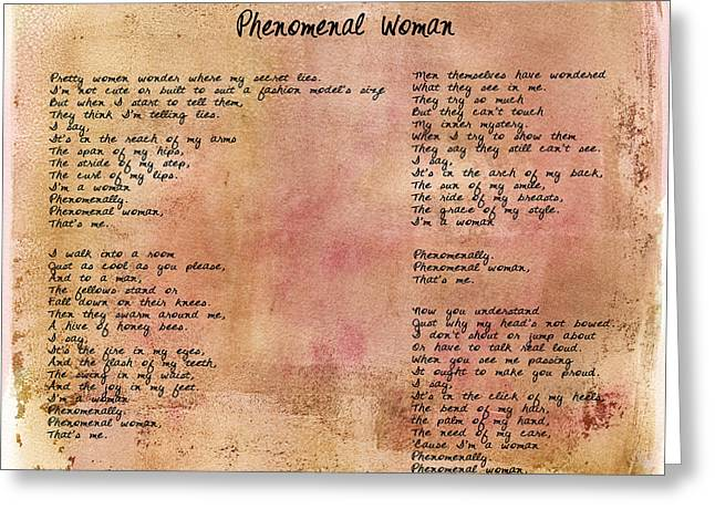 Paulette Wright Digital Art Greeting Cards - Phenomenal Woman - Red Rustic Greeting Card by Paulette B Wright