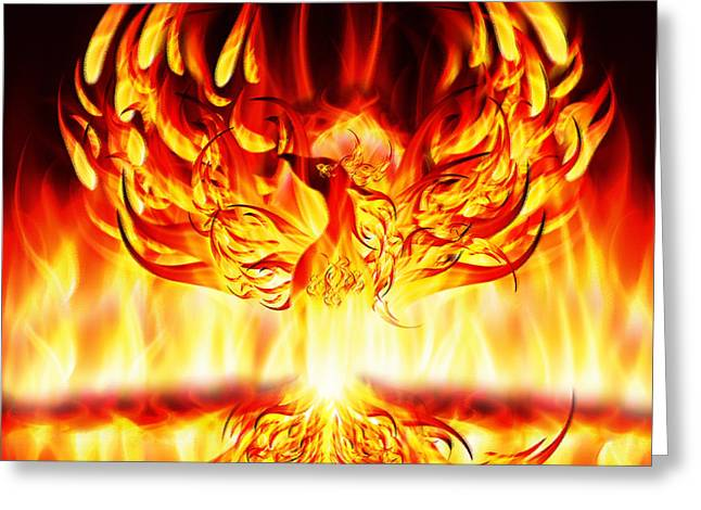 Lifecycle Greeting Cards - Phoenix Rising Greeting Card by Neil Finnemore