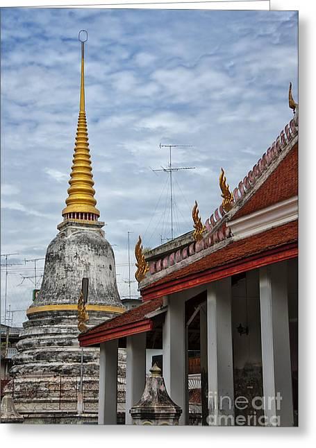 Phetchaburi Greeting Cards - Phetchaburi Temple 01 Greeting Card by Antony McAulay