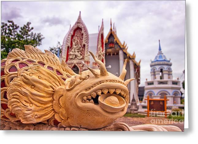 Phetchaburi Greeting Cards - Phetchaburi Temple 04 Greeting Card by Antony McAulay
