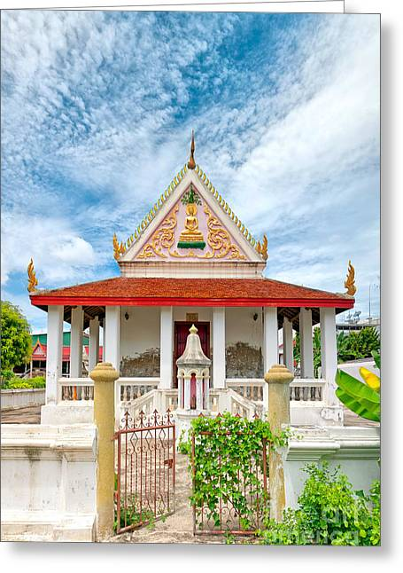Phetchaburi Greeting Cards - Phetchaburi Temple 07 Greeting Card by Antony McAulay