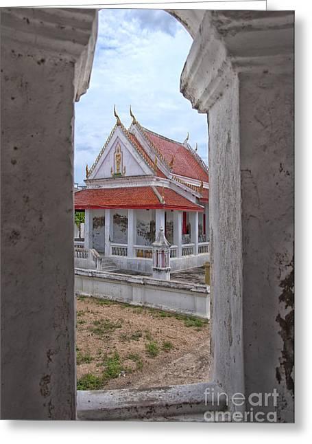 Phetchaburi Greeting Cards - Phetchaburi Temple 08 Greeting Card by Antony McAulay