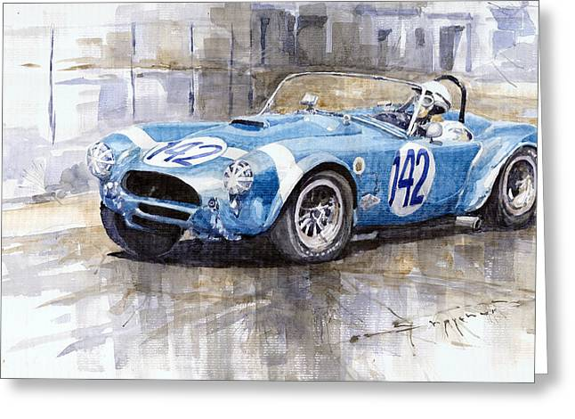 Phils Greeting Cards - Phil Hill AC Cobra-Ford Targa Florio 1964 Greeting Card by Yuriy Shevchuk
