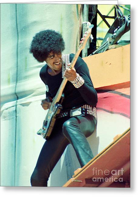 Fourth Of July Photographs Greeting Cards - Phil Lynott of Thin Lizzy-Black Rose Tour Day on the Green 7-4-79  Greeting Card by Daniel Larsen