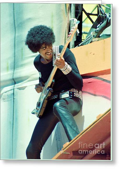 Phil Lynott Of Thin Lizzy-black Rose Tour Day On The Green 7-4-79  Greeting Card by Daniel Larsen