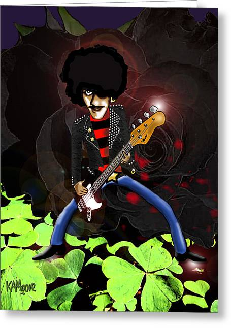 Thin Drawings Greeting Cards - Phil Lynott of Thin Lizzy Greeting Card by Kev Moore